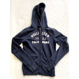 Hollister Logo Navy Blue Zip Up Hoodie
